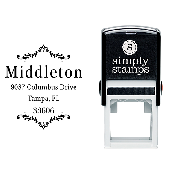 Middleton Vintage Deco Address Stamp Body and Design
