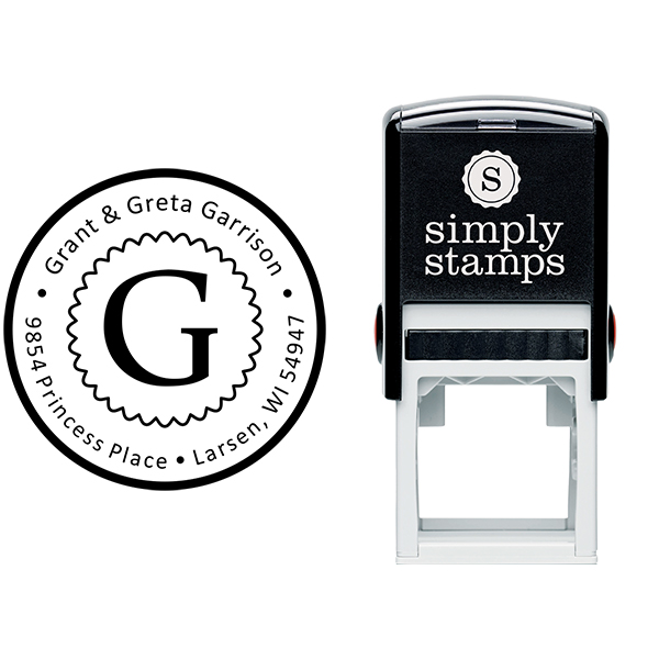 Garrison Solid Circle Border Address Stamp Body and Design