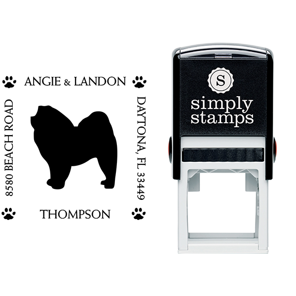 Chow Chow Pet Lover Dog Address Stamp Body and Design