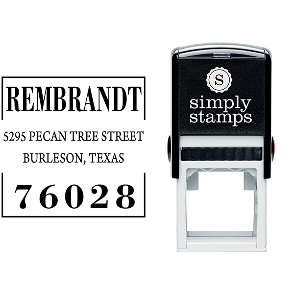 Stated Clearly Square Return Address Stamp Body and Design