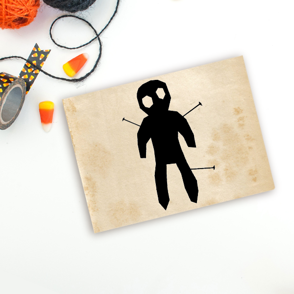Voodoo Doll Halloween Craft Rubber Stamp Imprint Example