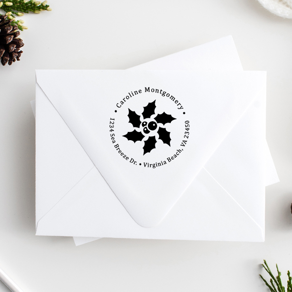 Star Holly Return Address Stamp Imprint Example