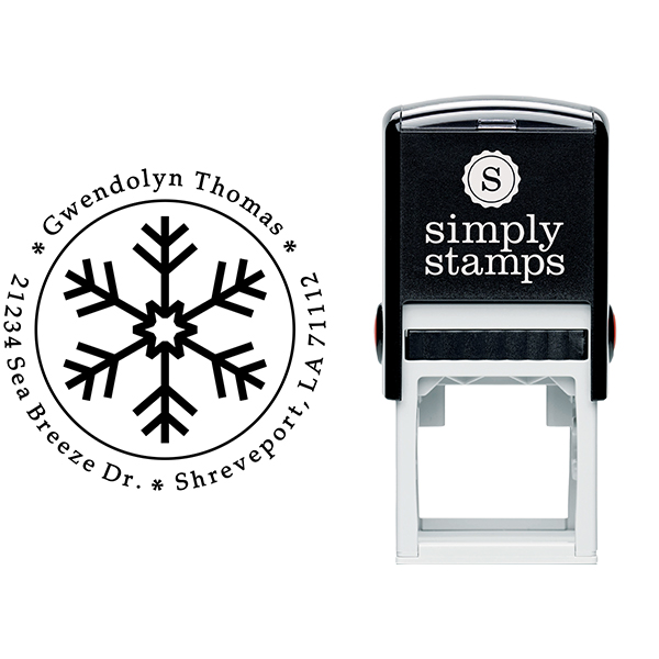 Six Point Snowflake Return Address Stamp Body and Design