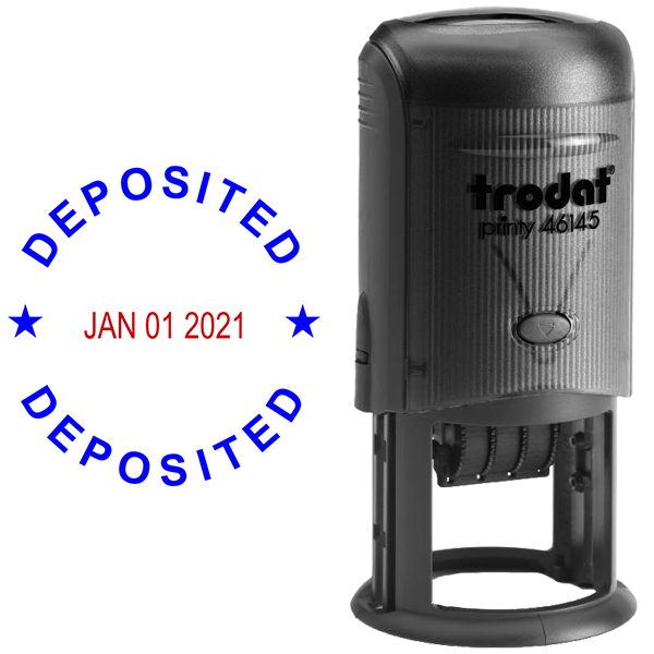 Round Self-Inking Dater Deposited Stamp Body and Design