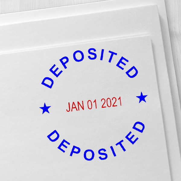 Round Self-Inking Dater Deposited Stamp Imprint Example