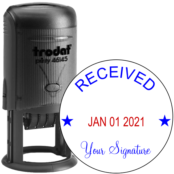 Round Self-Inking Dater w/ Signature Stamp