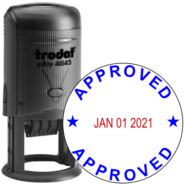 Round Self-Inking Dater Approved Stamp