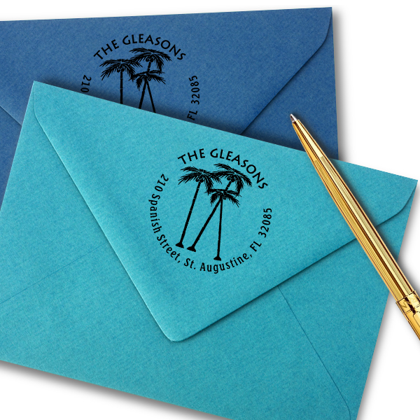 Palm Trees Round Stamp Imprint Example on Paper