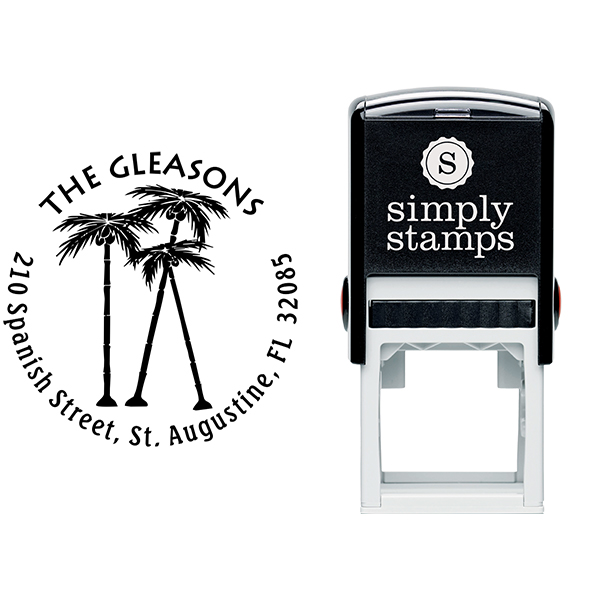 Palm Trees Round Stamp Stamp Body and Imprint