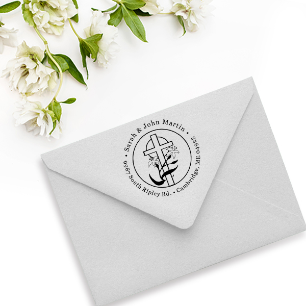 Lily Cross Address Stamp Imprint Example