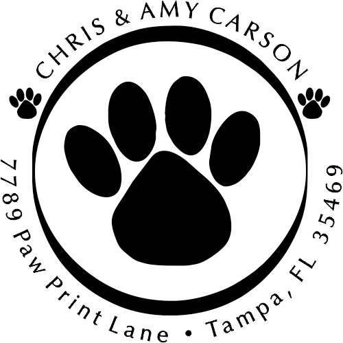 Paw print rubber address stamp