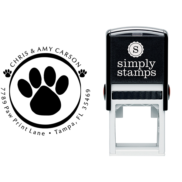 Paw Print Round Address Stamp Body and Imprint