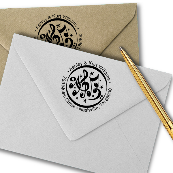 Music Circle Round Address Stamp Imprint Example on Paper