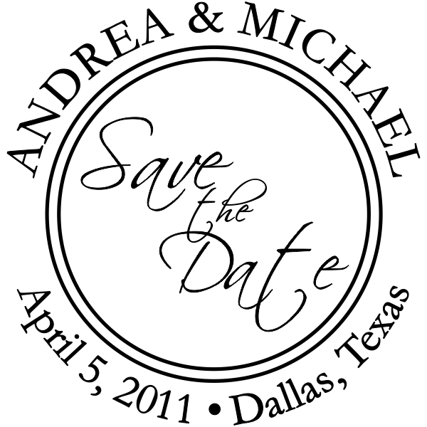 Round Save The Date rubber stamp