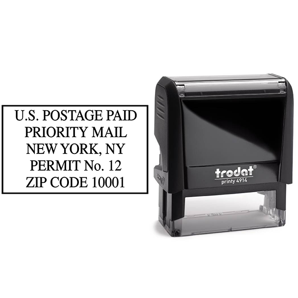 US Postage Paid Priority Mail Stamp Body and Design