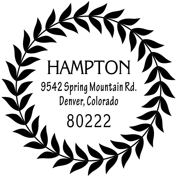 Hampton Leaf Wreath Address Stamp
