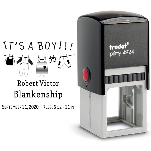 It's A Boy Clothes Line Rubber Stamp Body and Design