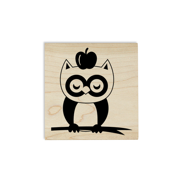 Owl on a Branch with Apple Craft Stamp Body and Design