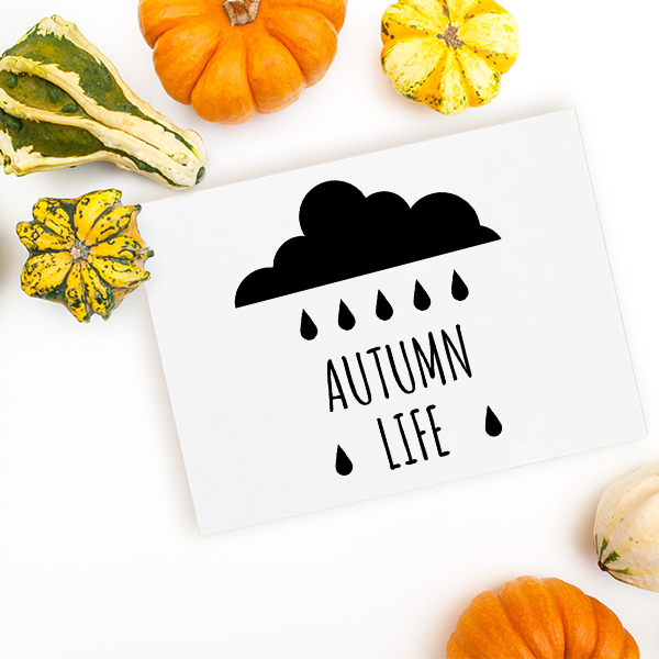 Autumn Life Rain Cloud Craft Stamp Imprint Example