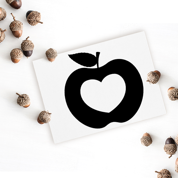 Heart Apple Craft Stamp Imprint Example