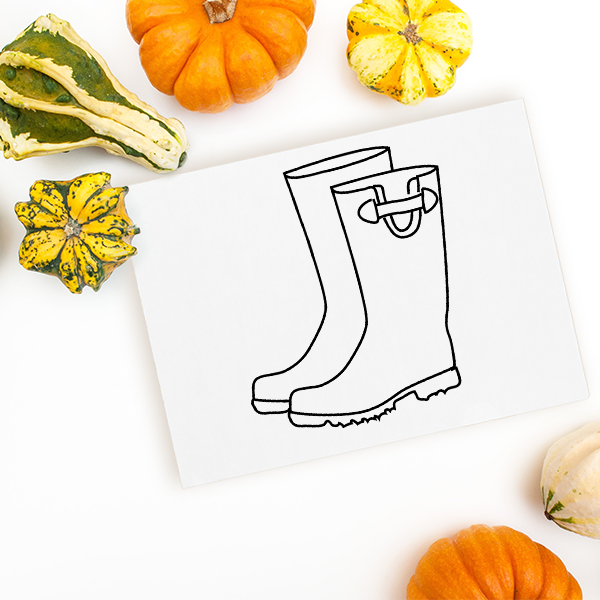 Rain Boots Craft Stamp Imprint Example