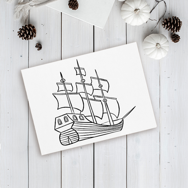 Mayflower Ship Craft Stamp Imprint Example