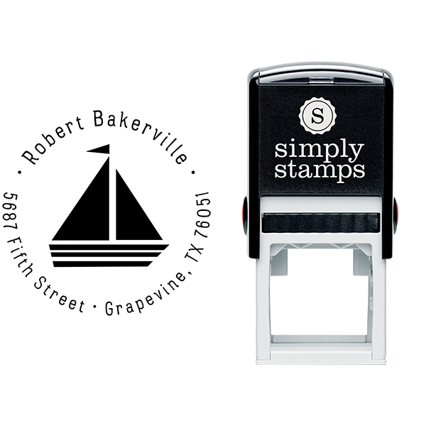 Sailboat Return Address Stamp Body and Design