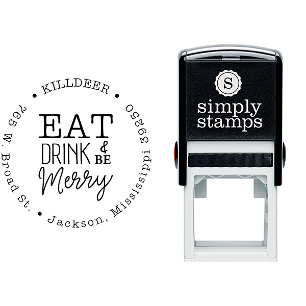 Eat Drink and Be Merry Address Stamp Body and Design