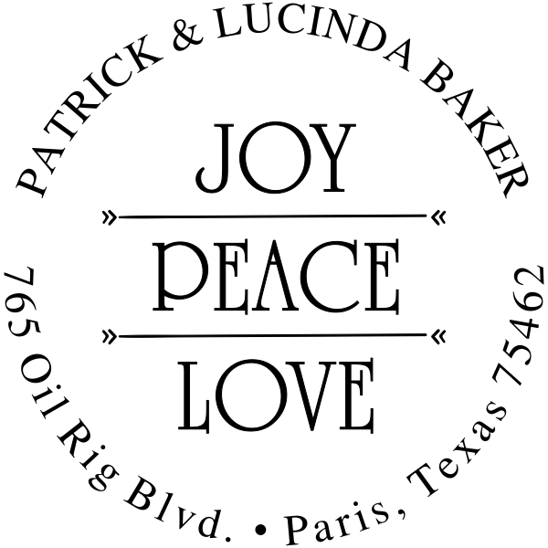 Joy Peace Love Return Address Stamp
