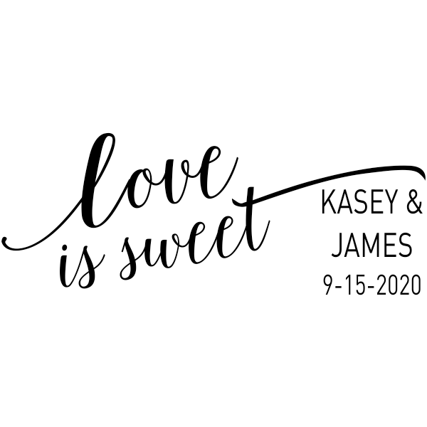 Love is Sweet Wedding Date Rubber Stamp