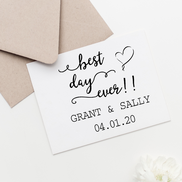 Best Day Ever Wedding Rubber Stamp Imprint Example