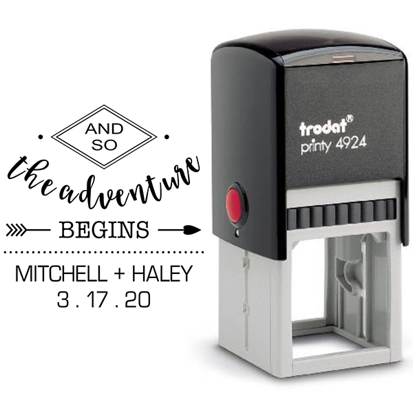 And The Adventure Begins Wedding Stamp Body and Design