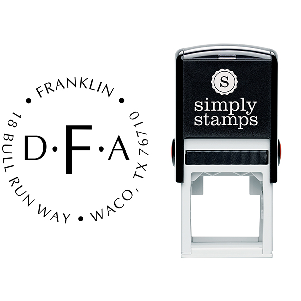Franklin Monogram Round Address Stamp Body and Design