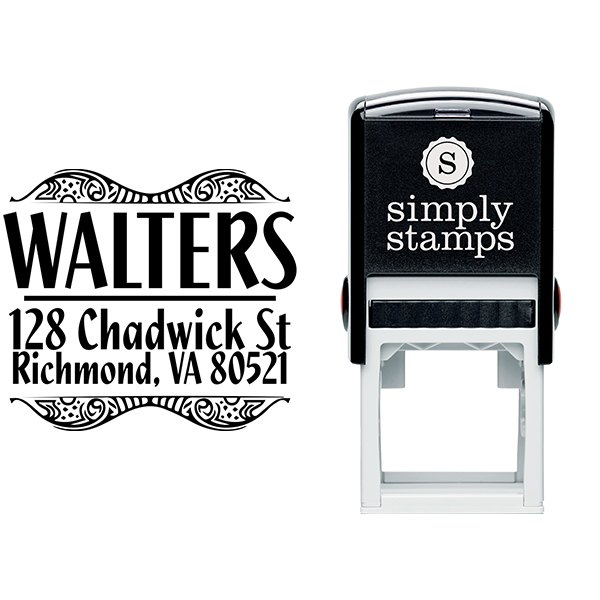 Bold Artistic Curves Return Address Stamp Body and Design