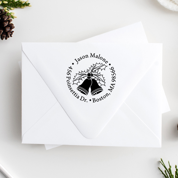 Holly Bells Holiday Return Address Stamp Imprint Example