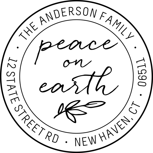 Bonnie Marcus Peace on Earth Branch Address Stamp