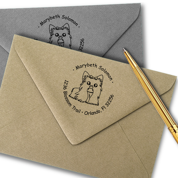 Shih Tzu Dog Return Address Stamp Imprint Example