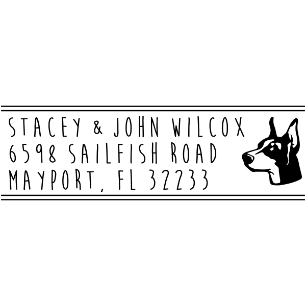 Pinscher Dog Address Stamp