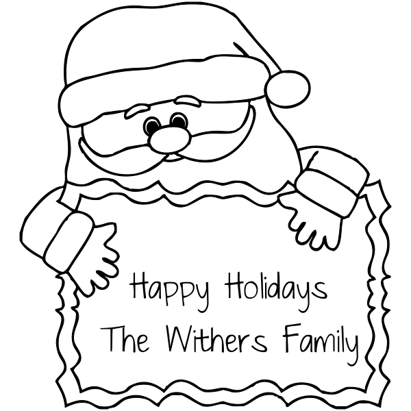 Custom Happy Holiday Santa Gift Label return rubber stamp