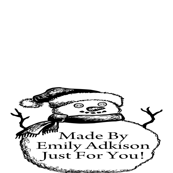 Made by Snowman Serious Font Holiday Gift Rubber Stamp