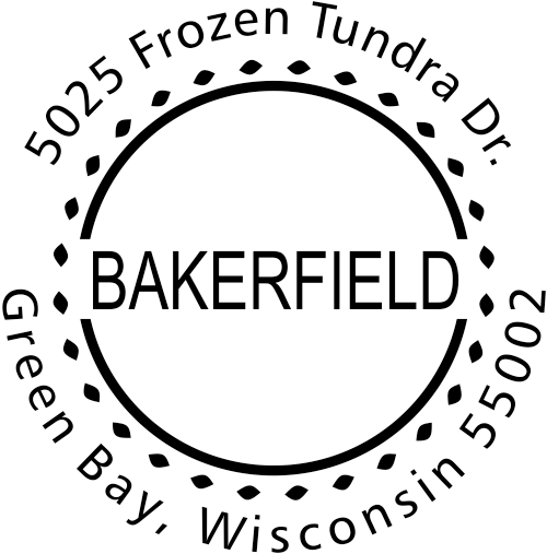 Bakerfield Round Address Stamp