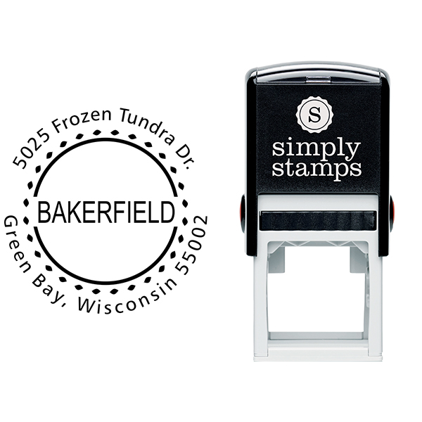 Bakerfield Round Address Stamp Body and Imprint