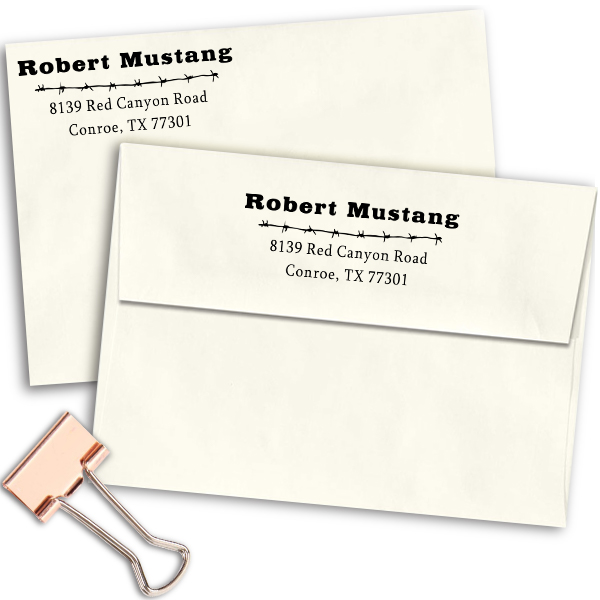 Mustang Barbed Wire Address Stamp Imprint Example