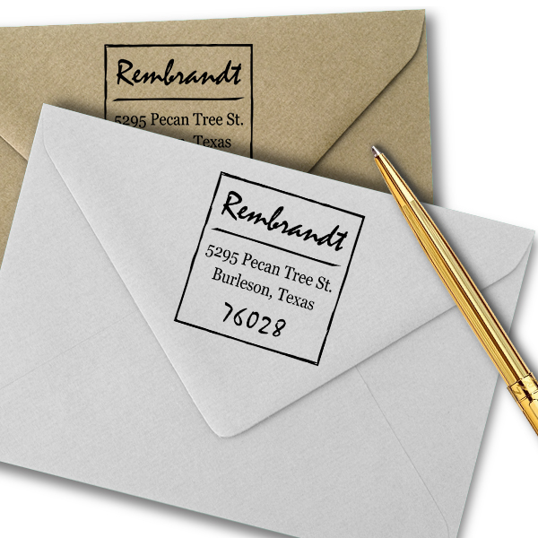 Scrawled Square Return Address Stamp Imprint Example