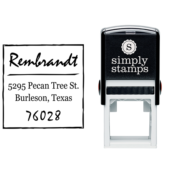 Scrawled Square Return Address Stamp Body and Design