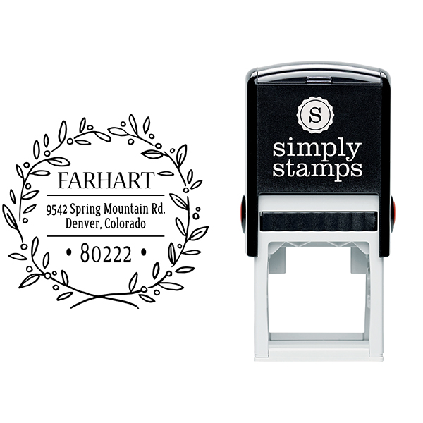 Farhart Wreath Address Stamp Body and Design