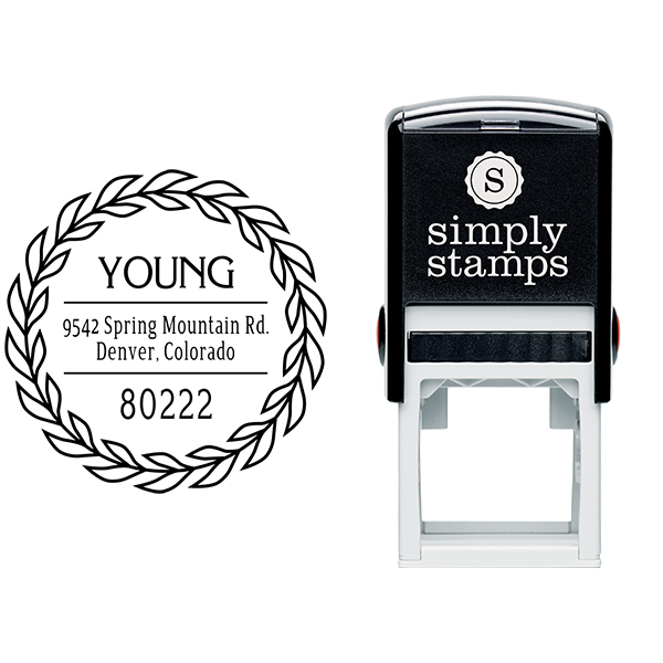 Young Leaf Wreath Address Stamp Body and Design
