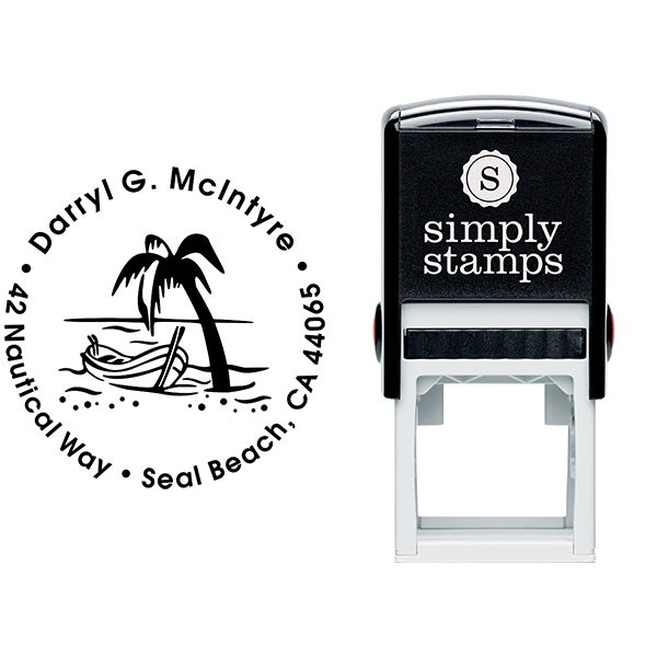 Row Boat Palm Tree Address Stamp Body and Design
