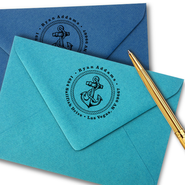 Nautical Rope and Anchor Custom Address Stamp Imprint Example