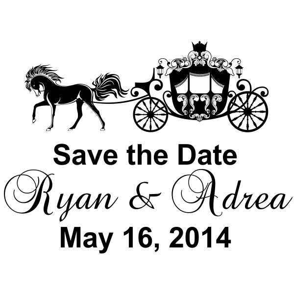 Save-the-date square rubber stamp